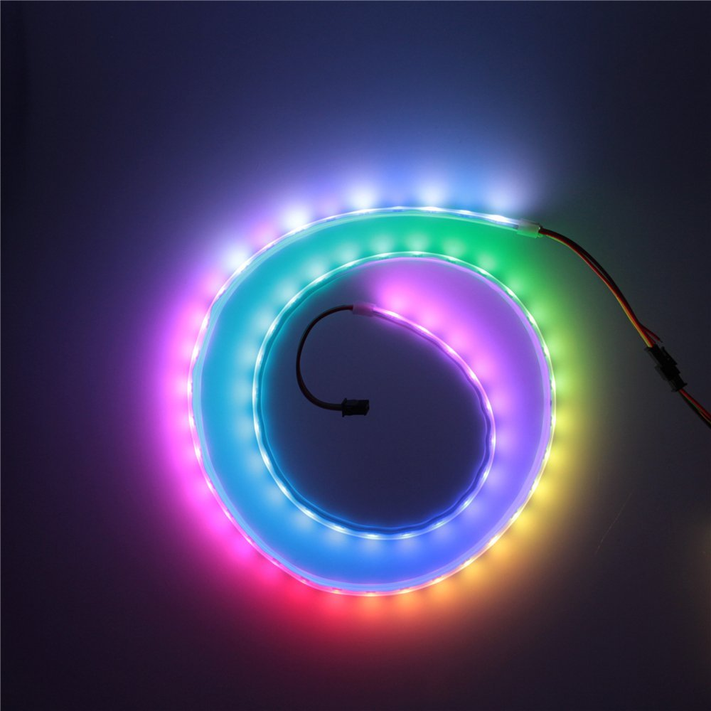 ALITOVE 3.3ft 60 Pixels WS2813 (Upgraded WS2812B) Individually Addressable RGB LED Flexible Strip Light Signal break-point continuous transmission 60LEDs/M Waterproof IP67 White PCB 5V DC