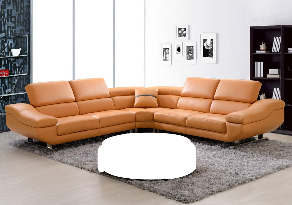 Get Quotations · 1PerfectChoice Contemporary Curved Sectional Sofa Orange  Bonded Leather Adjustable Headrests