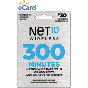 Net10 Prepaid Wireless Airtime Minutes Refill Card $30