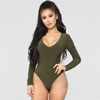2018 New Plain Solid Green Long Sleeves Snap Crotch Custom Women Bodysuit Thong Bodysuit