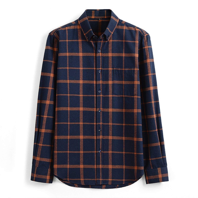 Hyunong 2018 New Men's Casual Small Plaid Shirt Loose Silk Cotton Long-Sleeved Shirt Thin Lapel Men's Shirt