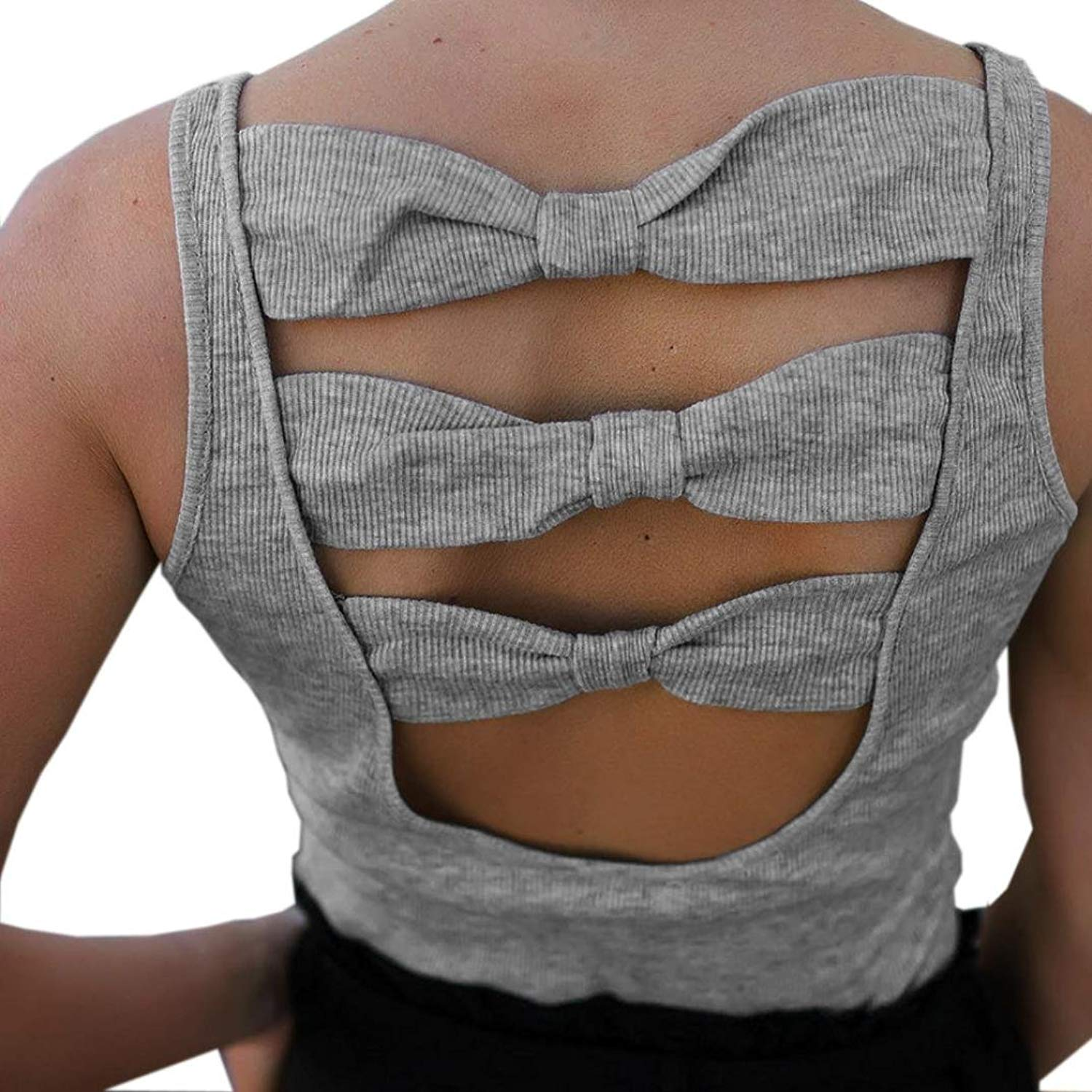 ba066bb6948f Paymenow Women Summer Tanks Tops Sleeveless Backless Bow Tie Slim Fits Sexy  Shirts Crop Vest by