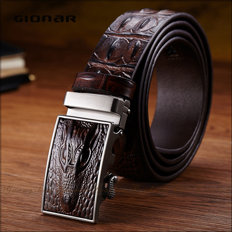 Designer <strong>Belt</strong> Men without Holes Automatic Buckle Crocodile Leather <strong>Belt</strong>