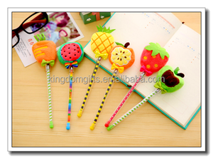fruit design roller pen,plastic ballpoint pen,silicone roller ball pen for wholesale