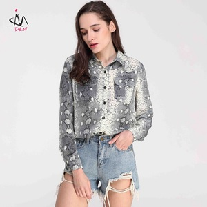 Latest Casual Shirt Designs Print Women Blouse Snakeskin Shirt For Ladies Tops