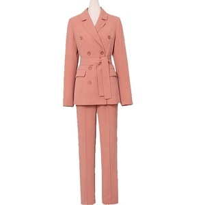 2019 fashion double breasted new design office lady business coat women pant suit