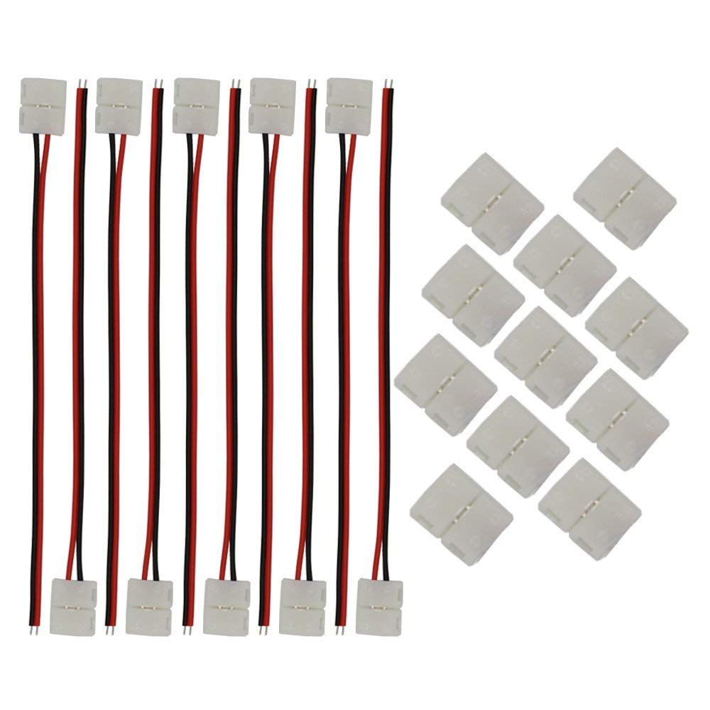 KINYOOO 8mm 3528/2835 LED Strip Light Connectors Kits, 10 PCS 2 Pin 8mm Wide LED Solderless Connect Wire, 10 PCS 2 Pin Conductor LED Strip Connector.