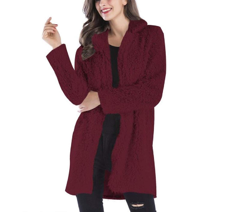 Coolred-Women Wool Mid-Long Warm Turn Down Collar Cozy Outwear Coat