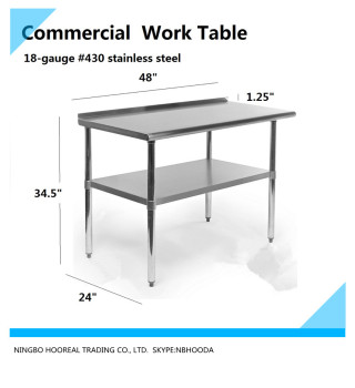 Stainless Steel Kitchen Restaurant Work Prep Table With Backsplash - 18 x 48 stainless steel work table