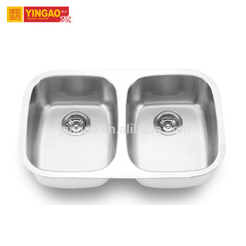 Cheap free standing custom granite stainless steel double kitchen sink