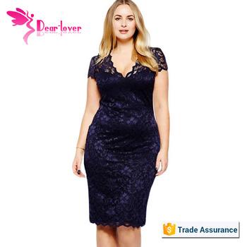 Wholesale Navy Blue Scalloped V Neck Lace Plus Size Midi Dress Buy
