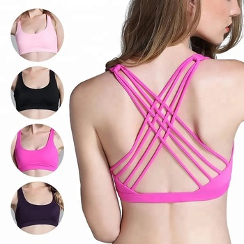 Women Sexy Cross Back Activewear Strappy Padded Workout Yoga sport Bra