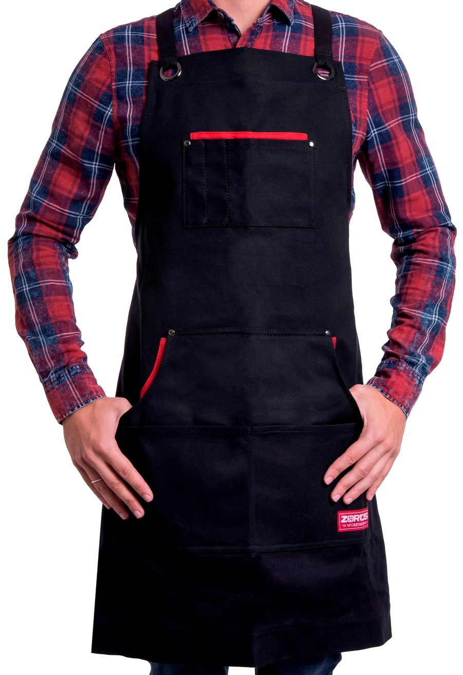 Waxed Canvas Apron by Zortis | Heavy Duty Apron With Pockets For Men and Women | Multiprofessional Water-Repellent Tool Apron Fits From Small To X-Large Size