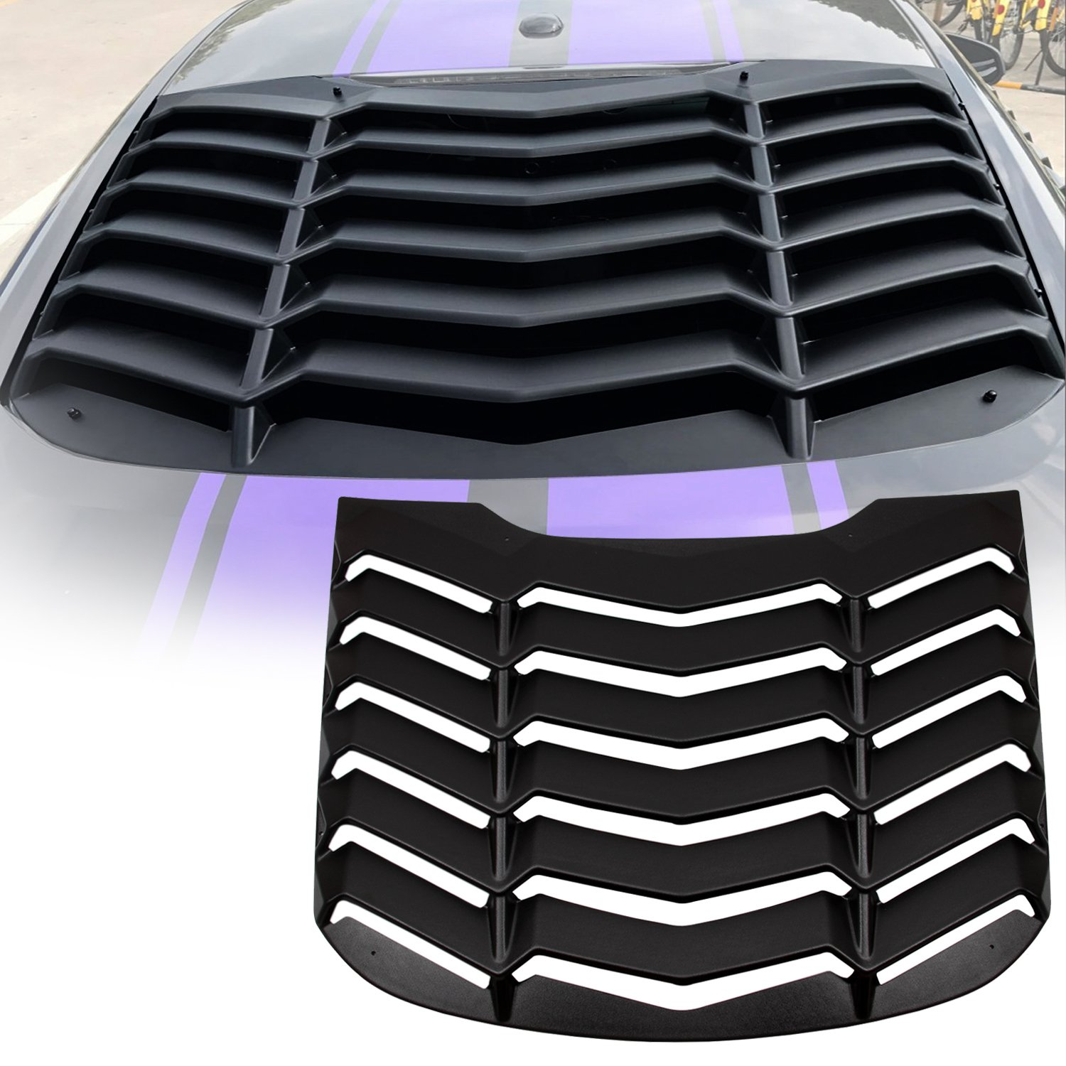 Yoursme Rear Window Louvers Matte Black ABS Window Scoop Sun Shade  Windshield Cover in Lambo Style 7b23f3d15c4