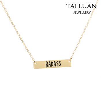 Wholesale personalized name necklace cheap badass letter bar necklace 5294a8f9b