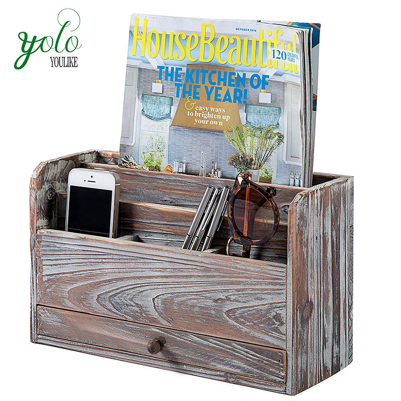 Multiple Stylish Types Rustic Torched Wood Desktop Office Organizer, Document Holder Rack