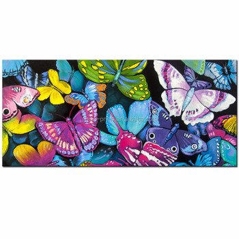 Colorful Butterflies In Forest Canvas Wall Art With Wood Frame