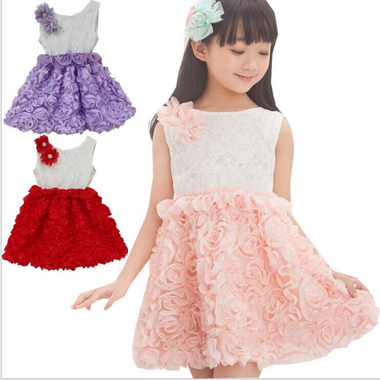 Free shipping 2014 Summer new arrival children Dress Girls wholesale sweet girls party princess dress