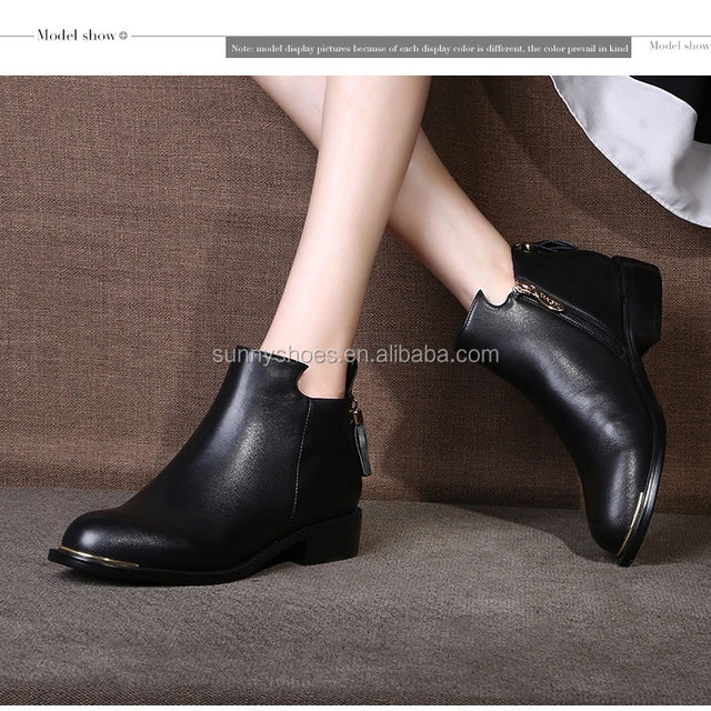 75ae64ee3c6 New arrivals wholesale ankle boot pointed toe chunky heels genuine calf  leather girls footwear