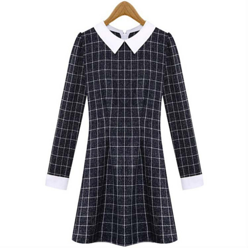 0db24e538c7 Get Quotations · 2015 New Vintage Turn Down Collor Zip Back Winter Long  Sleeve Women Dress Plaid Dresses Navy