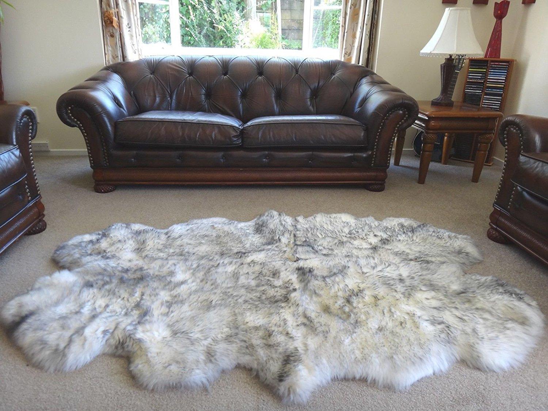 Starose New Zealand Genuine Quarto Sheepskin Rug Area White Grey Tipped