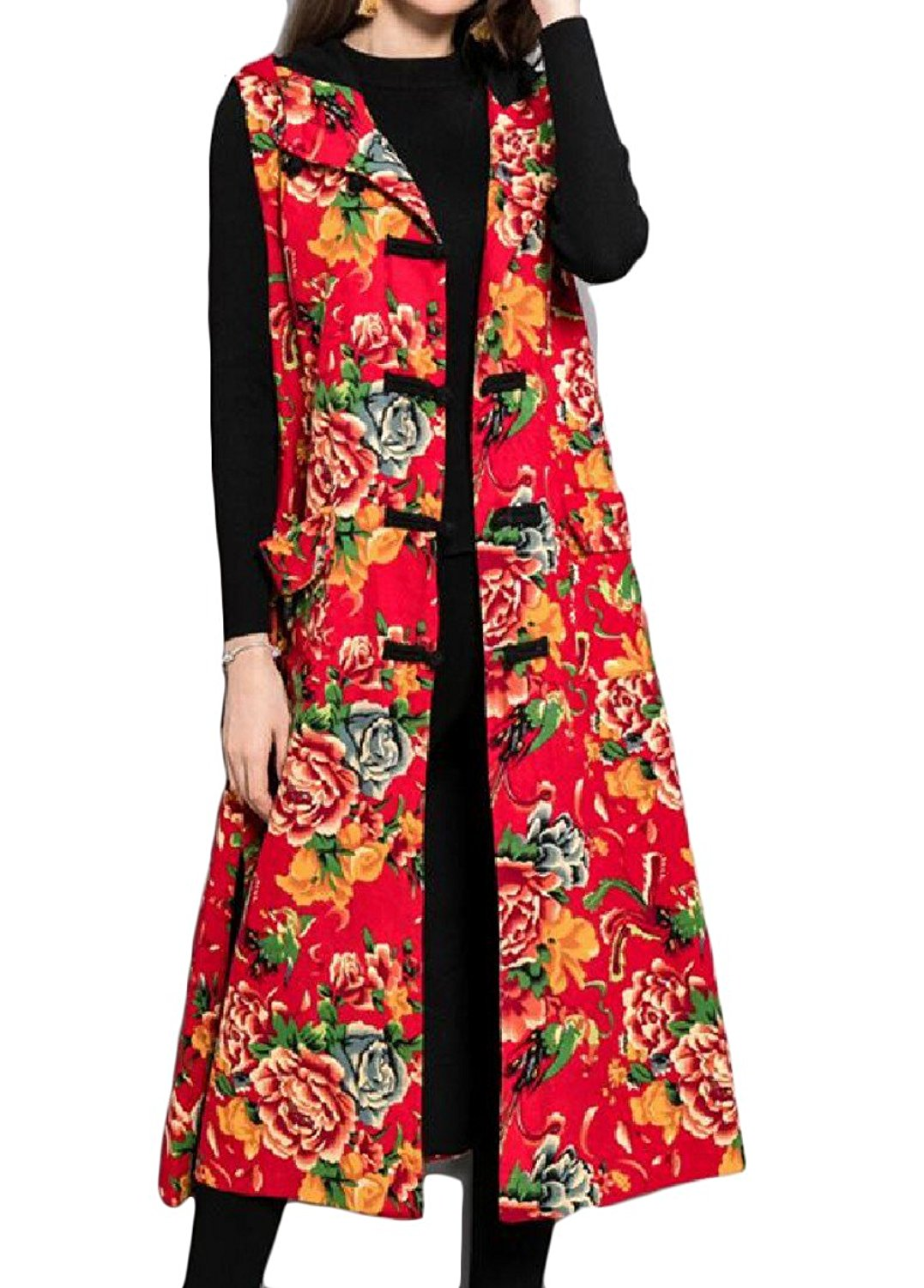 Coolred Women Buckle Hooded Folk Style Chinese style Printing Floral Vest