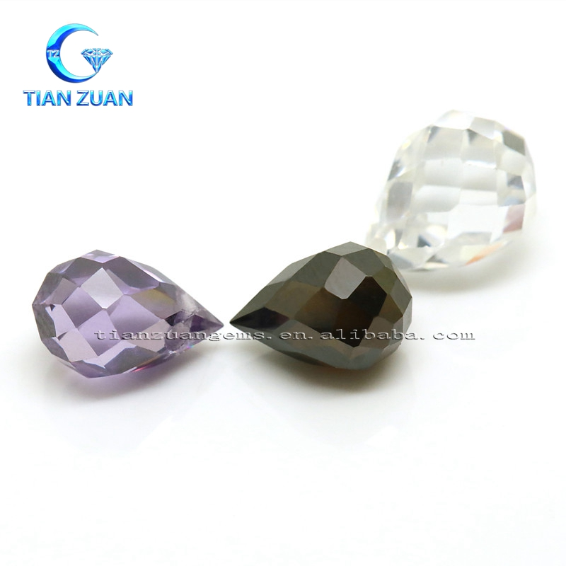 Cubic water-drop shape purple black and white color cubic zirconia CZ gemstone for jewelry making