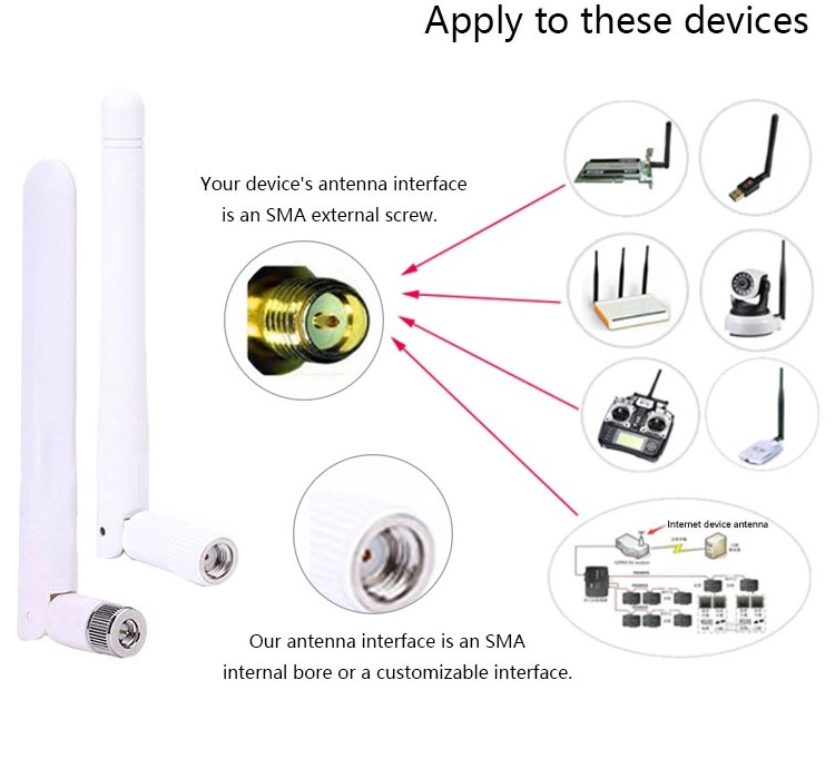 Manufacturers White Omni Directional External 2.4GHz 5GHz 3DBI Dual Band WiFi Antenna for communications
