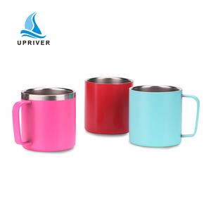 simple double wall stainless steel water bottle insulated powder coated coffee mug high quality flask with handle