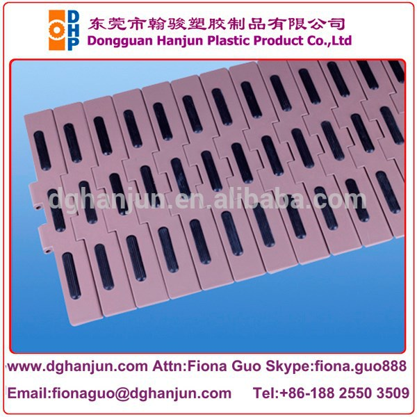 Double hinge straight running slat conveyor chain with high friction inserts/chain with plastic cover