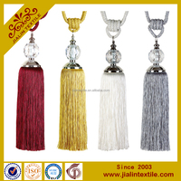 Home decor curtain accessories polyester material big glass beads tieback tassel for curtains