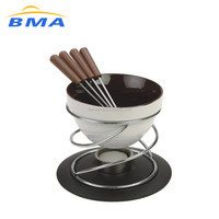 Factory Colorful Chocolate Pot in cheese tools ceramic fondue set matel