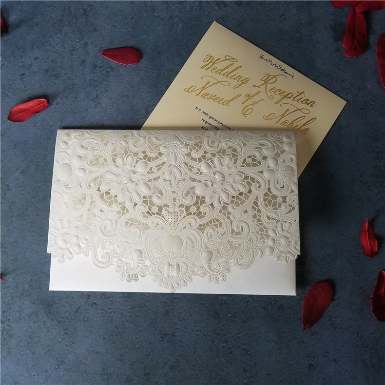 White Laser Cut Wedding Invitation Card