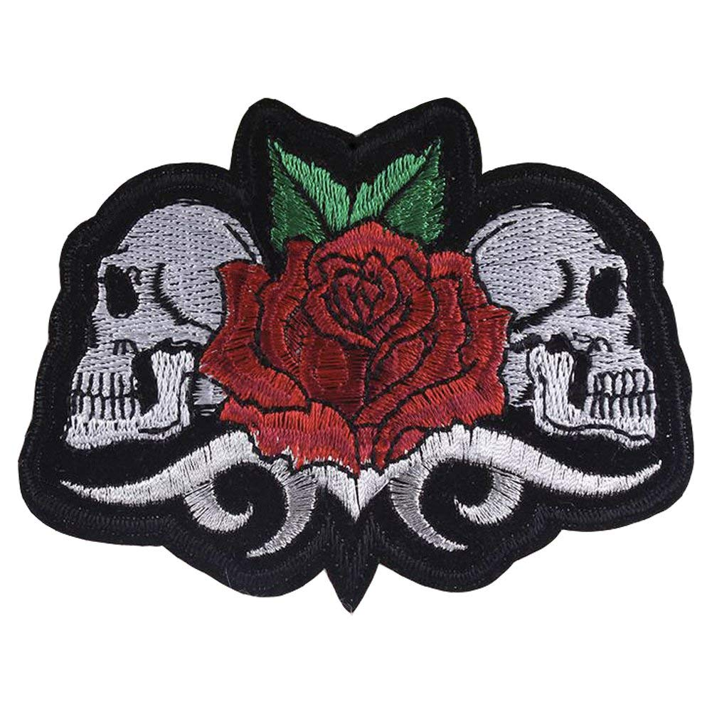 XUNHUI Rose Skull Patch Stickers Iron On Patch Embroidered Patches for Clothes Badges 5 Pieces