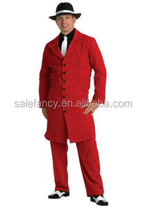 Red gangster zoot suit halloween men cosplay costume QAMC-0353