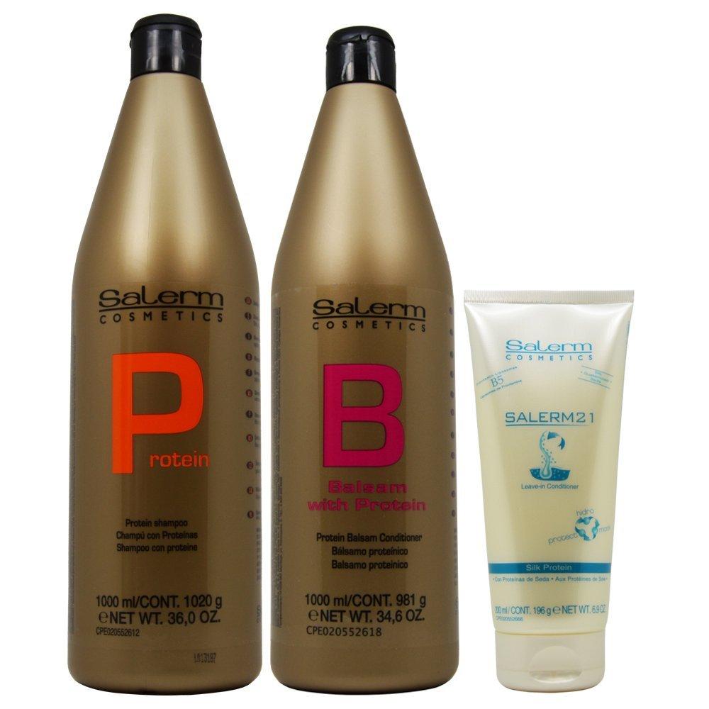 Salerm Protein Shampoo 1000ml + Balsam Conditioner 1000ml + 21 Leave in Conditioner 200ml (Combo Set)