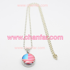 Flag pattern glass snap charms with chain necklace for friend,button necklace