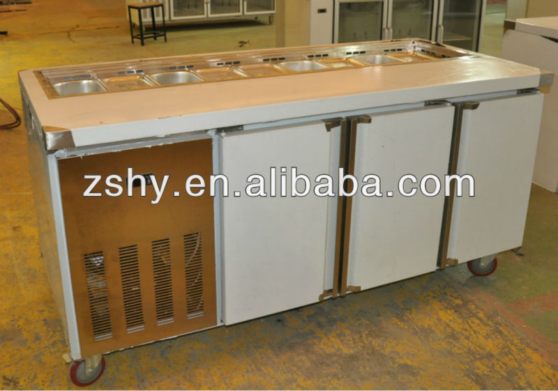 Marble top pizza preparation counter chiller and salad bar fridge