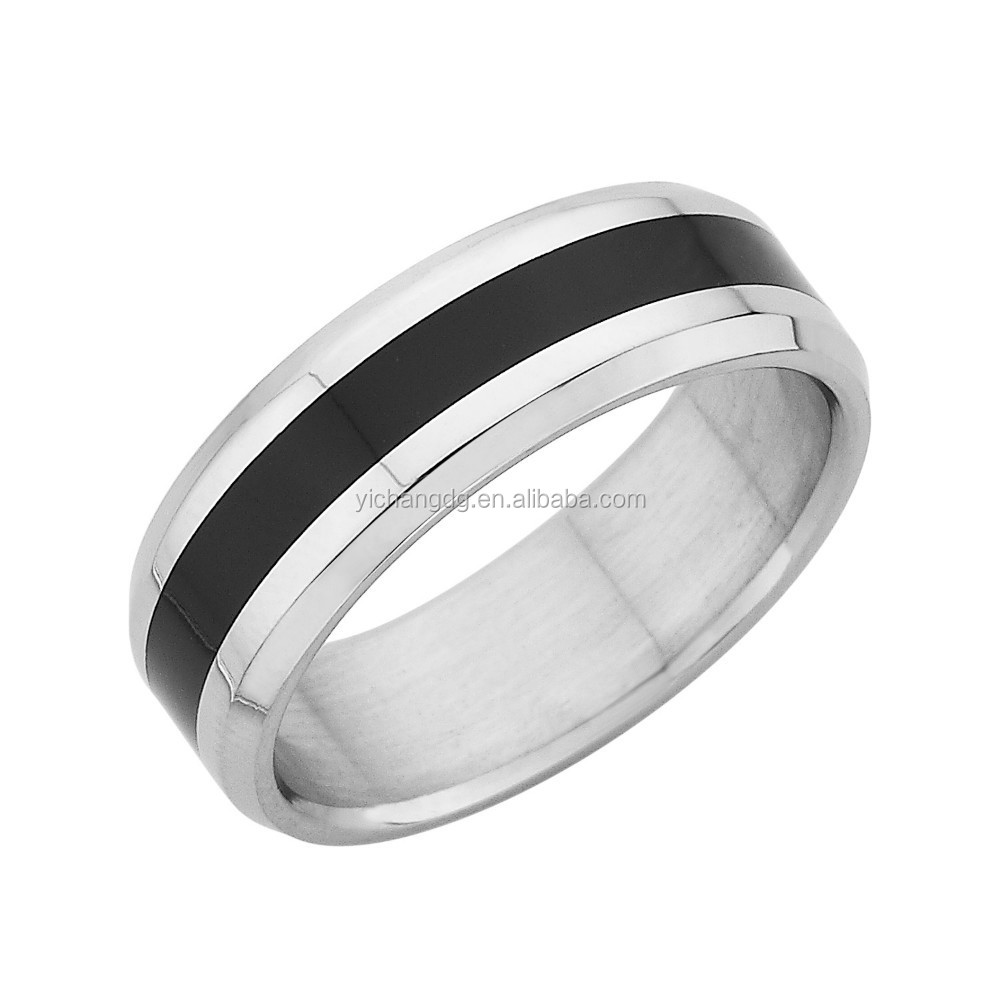 Stainless Steel Black Enamel Coated Mens Ring,High Polish Untique Engagement Ring