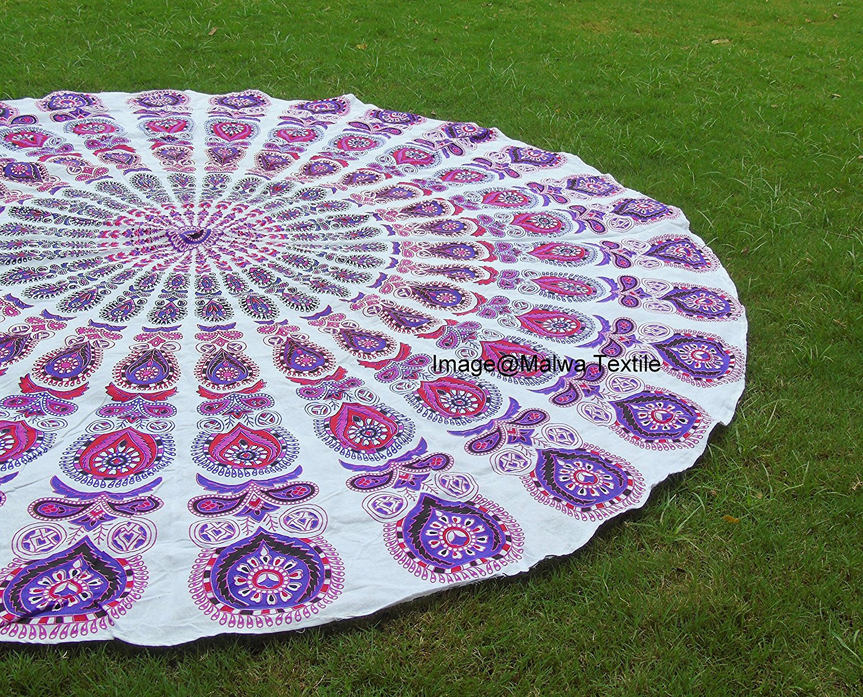 Indian Mandala Cotton Round Roundie Beach Throw, Mandala Tapestry,Yoga Mat , Beach Towel,Round Table Cover,Hippi Boho Gypsy Wall Hanging By Malwa Textile