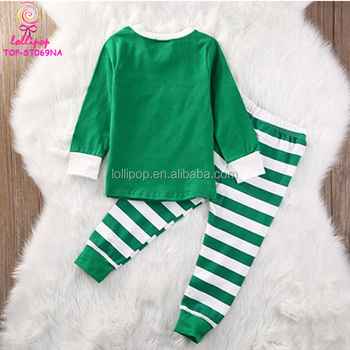 bdc11dd252 100% Cotton Pajamas Long-sleeved Knitted Baby Clothes green White Stripes  red neck/