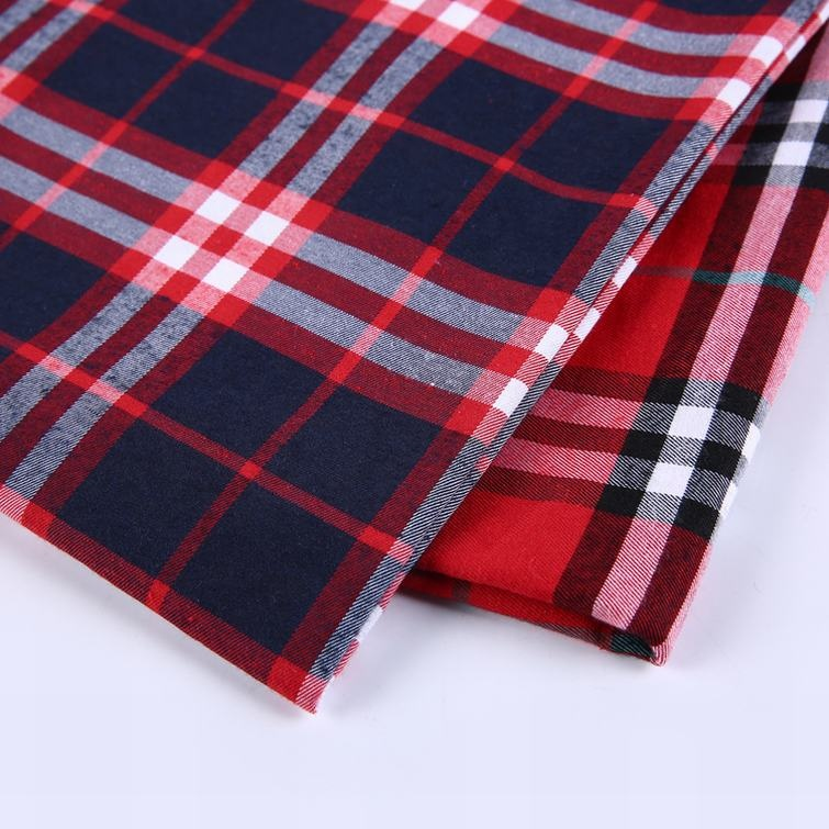 Red plaid dobby design surplus shirting shirt fabric printed <strong>cotton</strong> woven