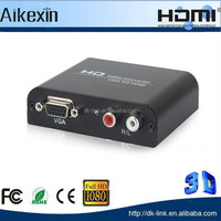 Extra VGA and R/L audio outputs,VGA 2 HDMI ,Full HD 1080p VGA to HDMI Converter with DC 5V Adapter 3D