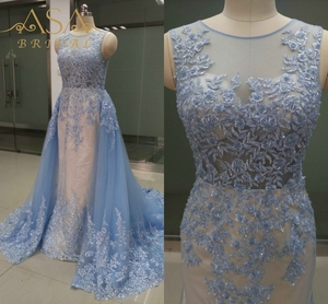 ASEY05 Real Pictures Custom-made Trumpet Long Mermaid Evening Dresses with Detachable Train 2017