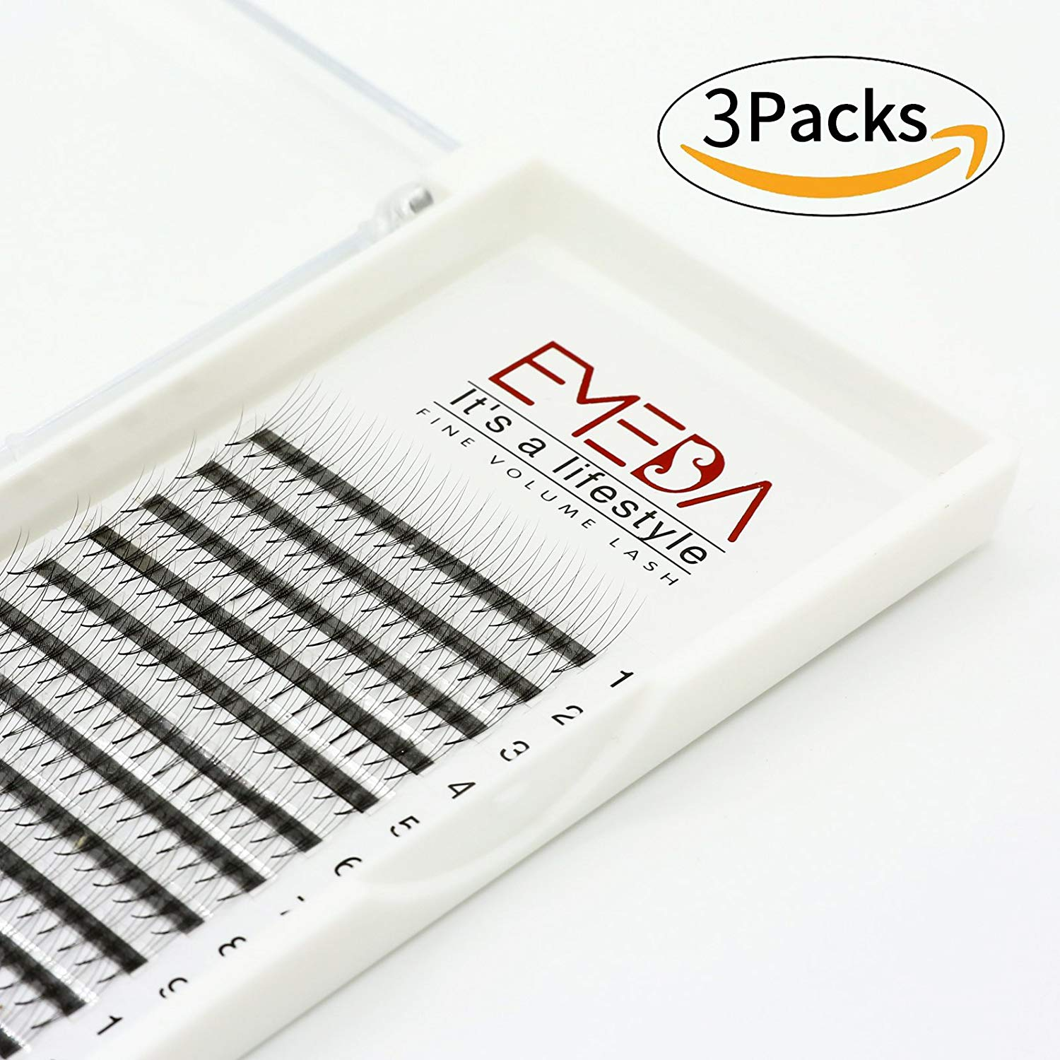 25e4a349b5e Get Quotations · 3 Trays 3D Volume Cluster Eyelash Extensions C Curl 0.07mm  12mm 14mm Mix Premade Volume