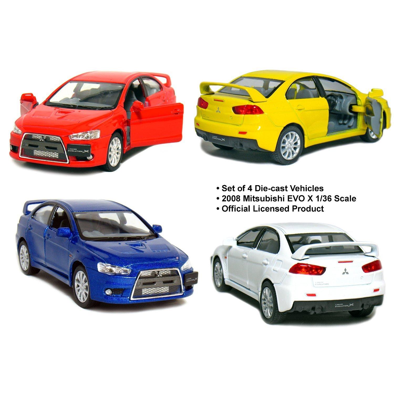 "Set of 4: 5"" 2008 Mitsubishi Lancer Evolution X 1:36 Scale (Blue/Red/White/Yellow)"