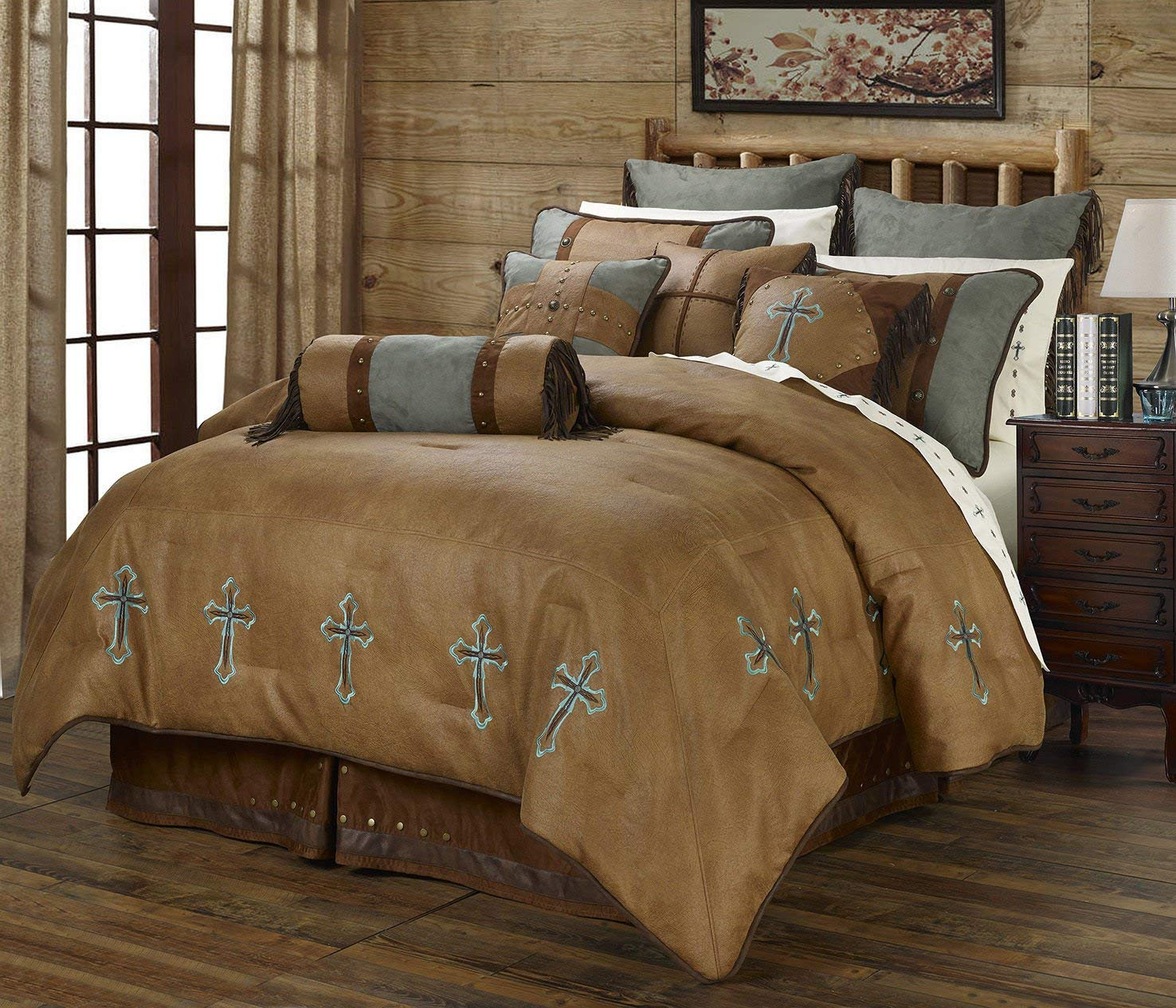 Cheap Super King Bedding Sale Find Deals On Rodeo Bundling 5 Get Quotations Turquoise Cross Western Piece Comforter Set Includes 1