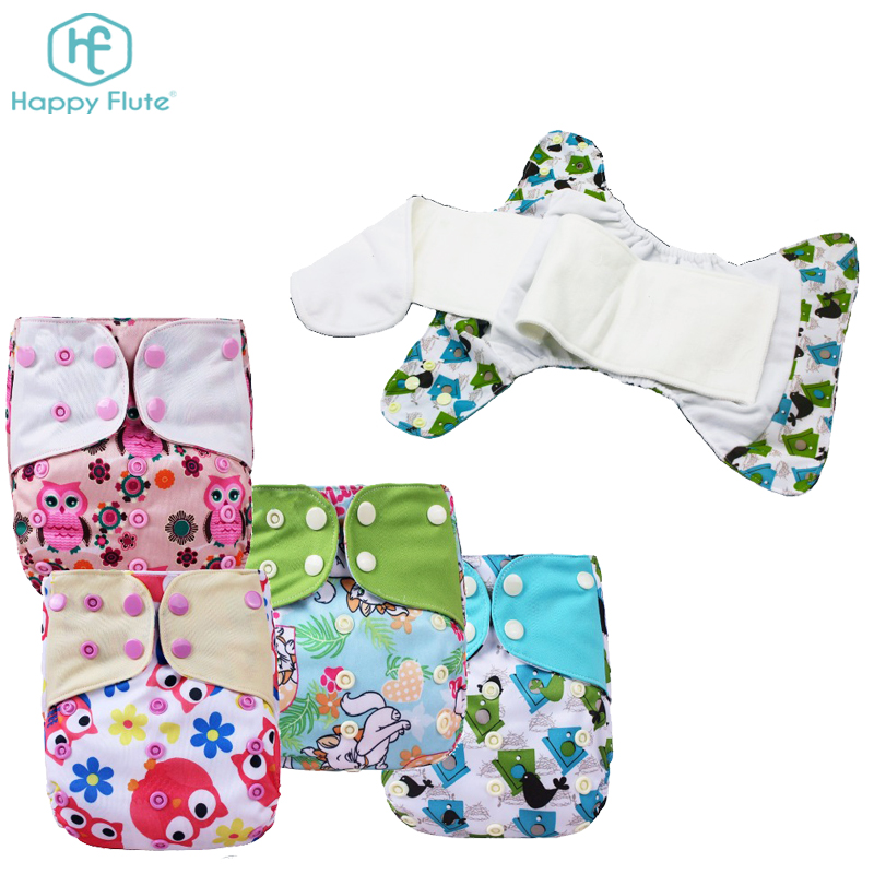 Happy flute Waterproof Absorbent Cotton Washable Fabric Cloth AIO Bamboo Diapers