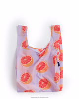 China Factory Custom Grocery Use Polyester T-Shirt Reusable Folding Shopping Bag With Pocket