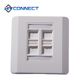 High Quality 4 Ports Wall Mount 86 Type Beveled ABS Cat6 Amp RJ45 Faceplate
